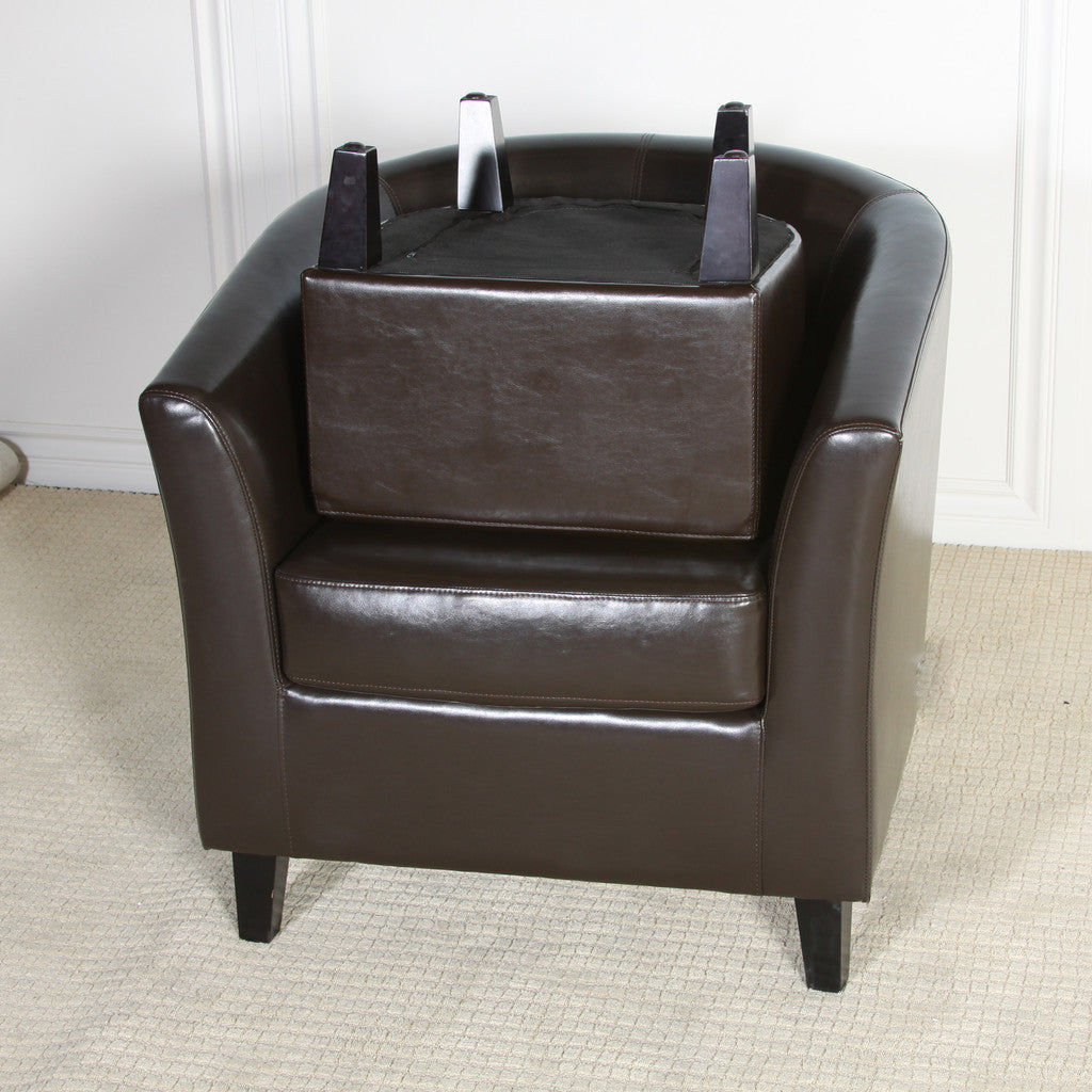 817056011221 Haywood Brown Leather Club Chair and Ottoman Collected Items View