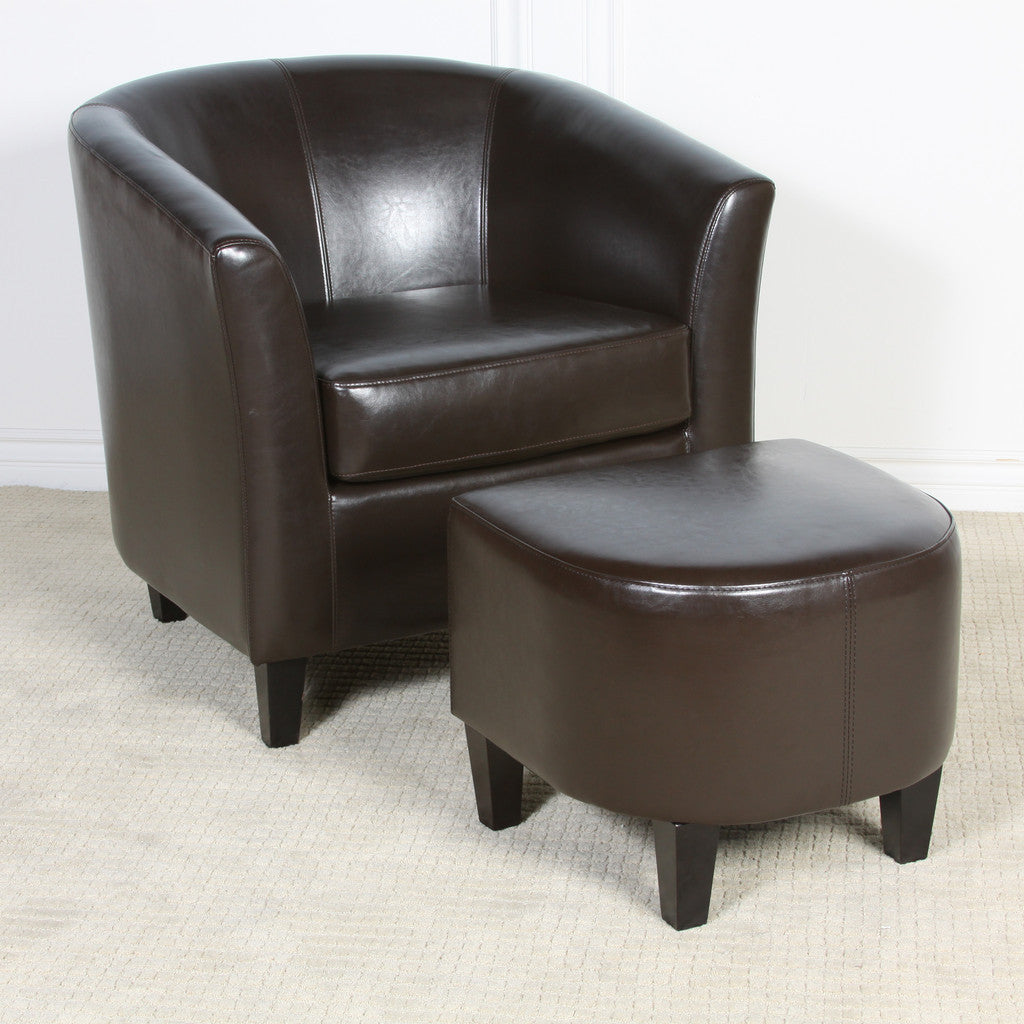 817056011221 Haywood Brown Leather Club Chair and Ottoman Full View in Room