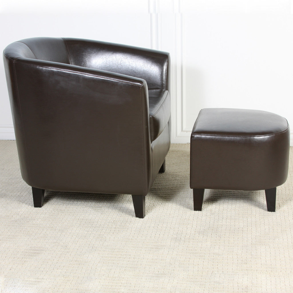 817056011221 Haywood Brown Leather Club Chair and Ottoman Side View in Room