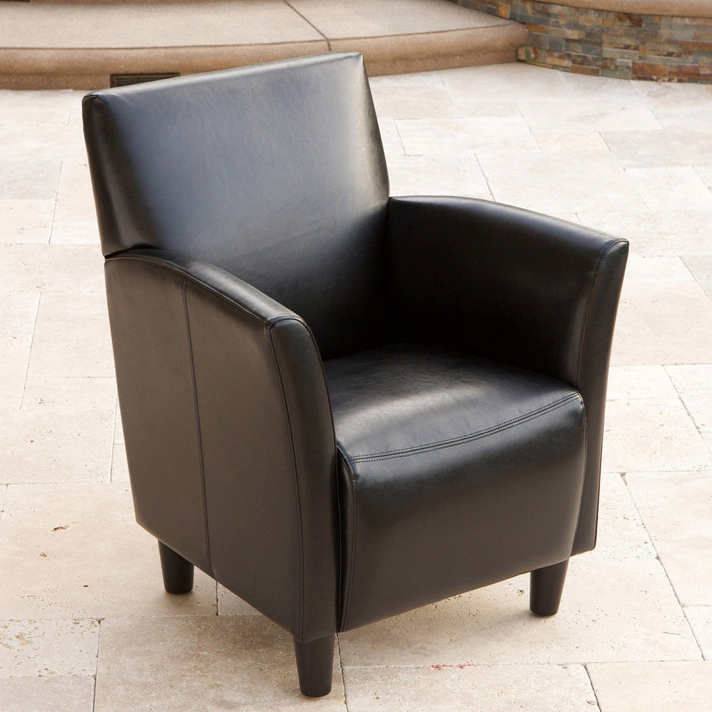 817056011252 Pismo Black Leather Club Chair Full View