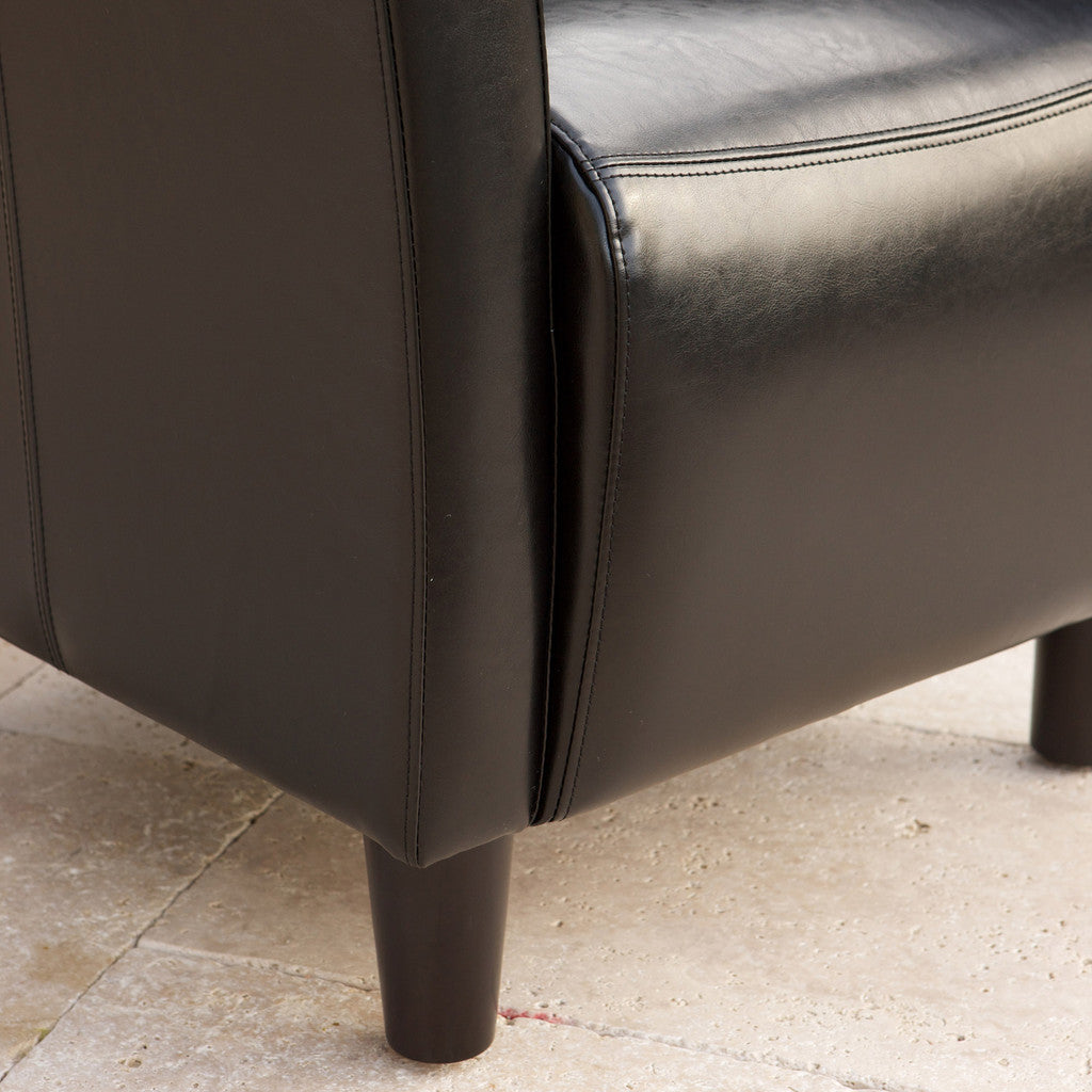 817056011252 Pismo Black Leather Club Chair Leg and leather Detail View