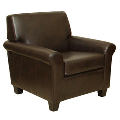 817056012365 Addison Brown Leather Club Chair Full View White Background