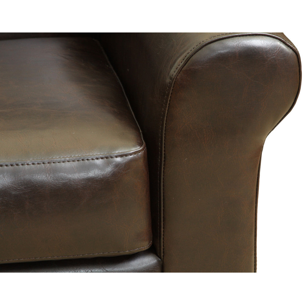 817056012365 Addison Brown Leather Club Chair Leather Detail View