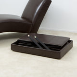 817056012440 Peabody Brown Leather Large Foldable Storage Ottoman Folded View