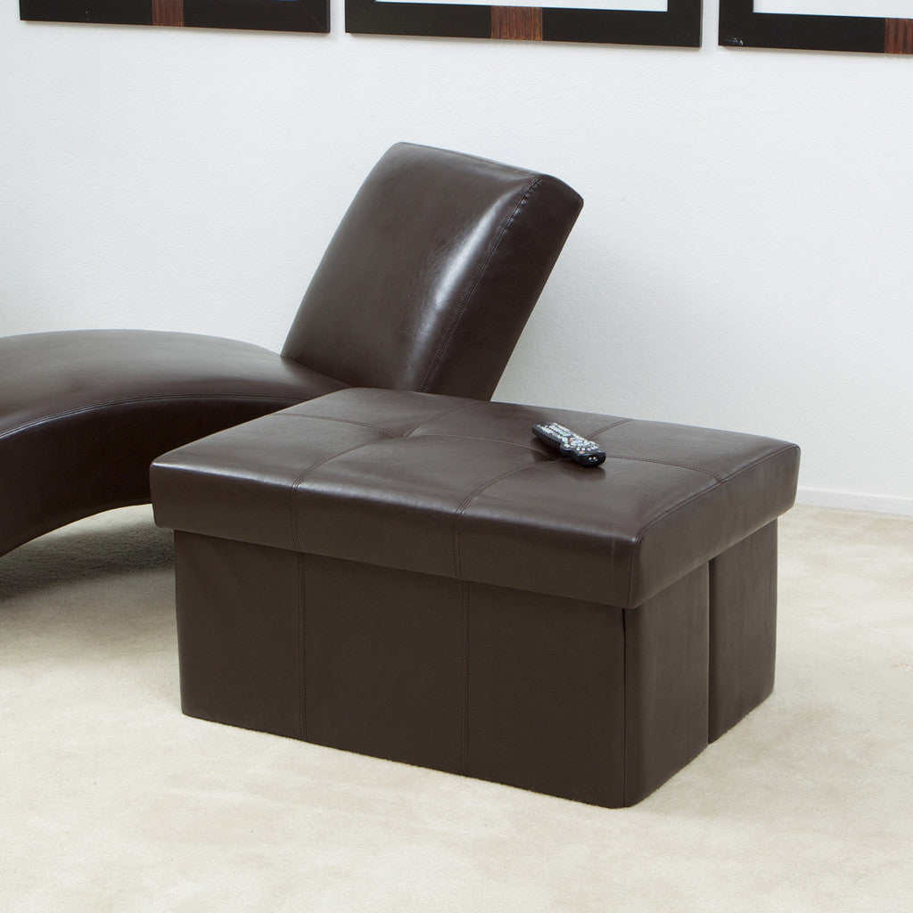 817056012440 Peabody Brown Leather Large Foldable Storage Ottoman Full View in Room