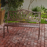 817056012471 Brockway Brown Patio Bench Full View Outdoor