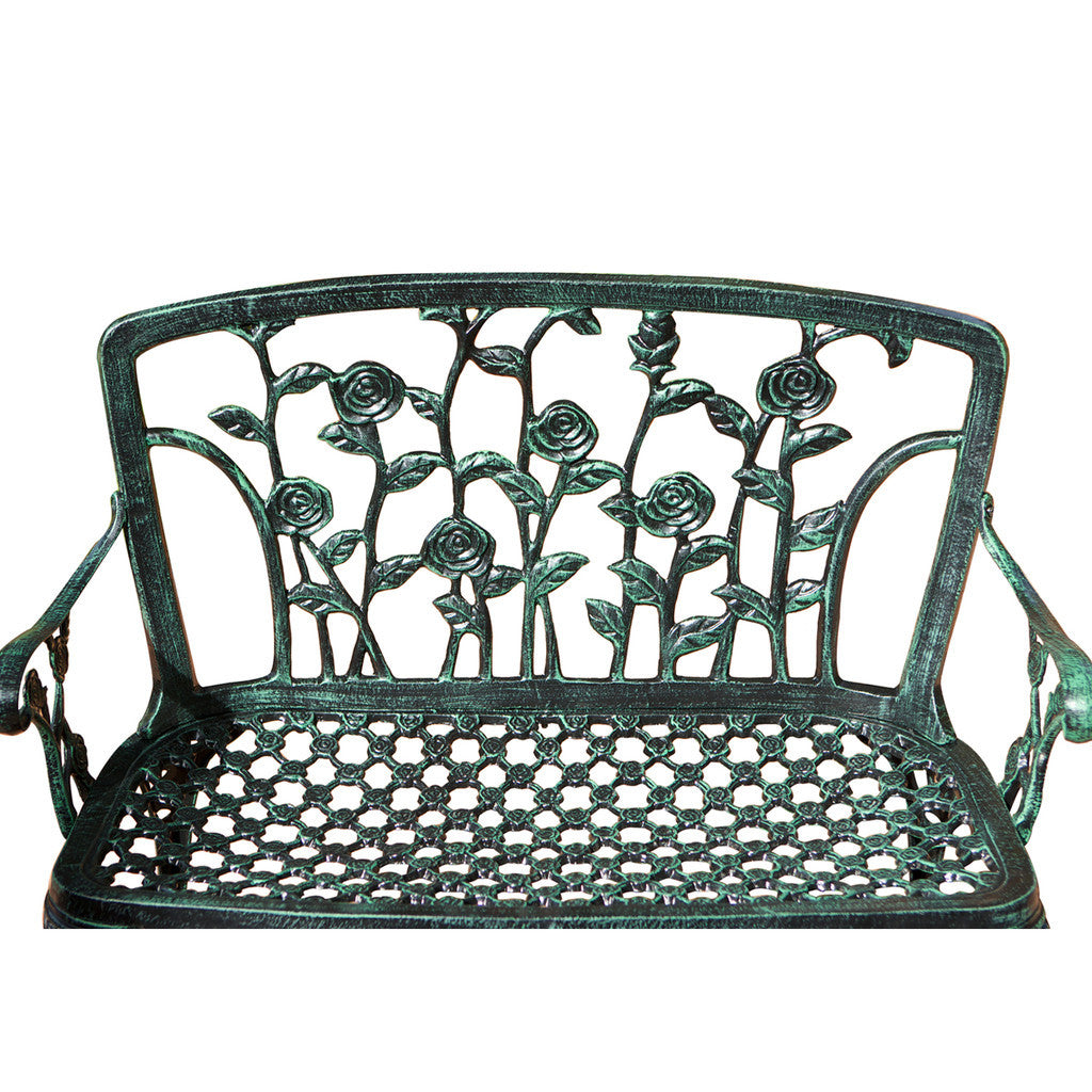 817056012501 San Clemente Floral Patio Bench Detail View