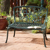 817056012501 San Clemente Floral Patio Bench Full View Outdoor