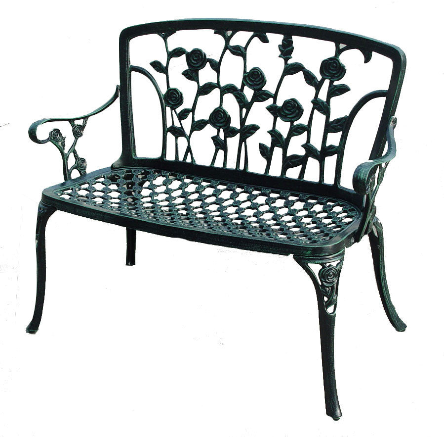 817056012501 San Clemente Floral Patio Bench Full View White Background