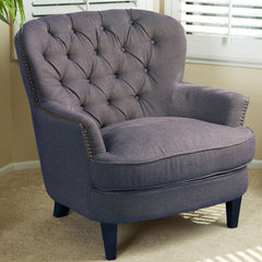 817056012594 - Alfred Tufted Grey Fabric Club Chair - Full View in Room