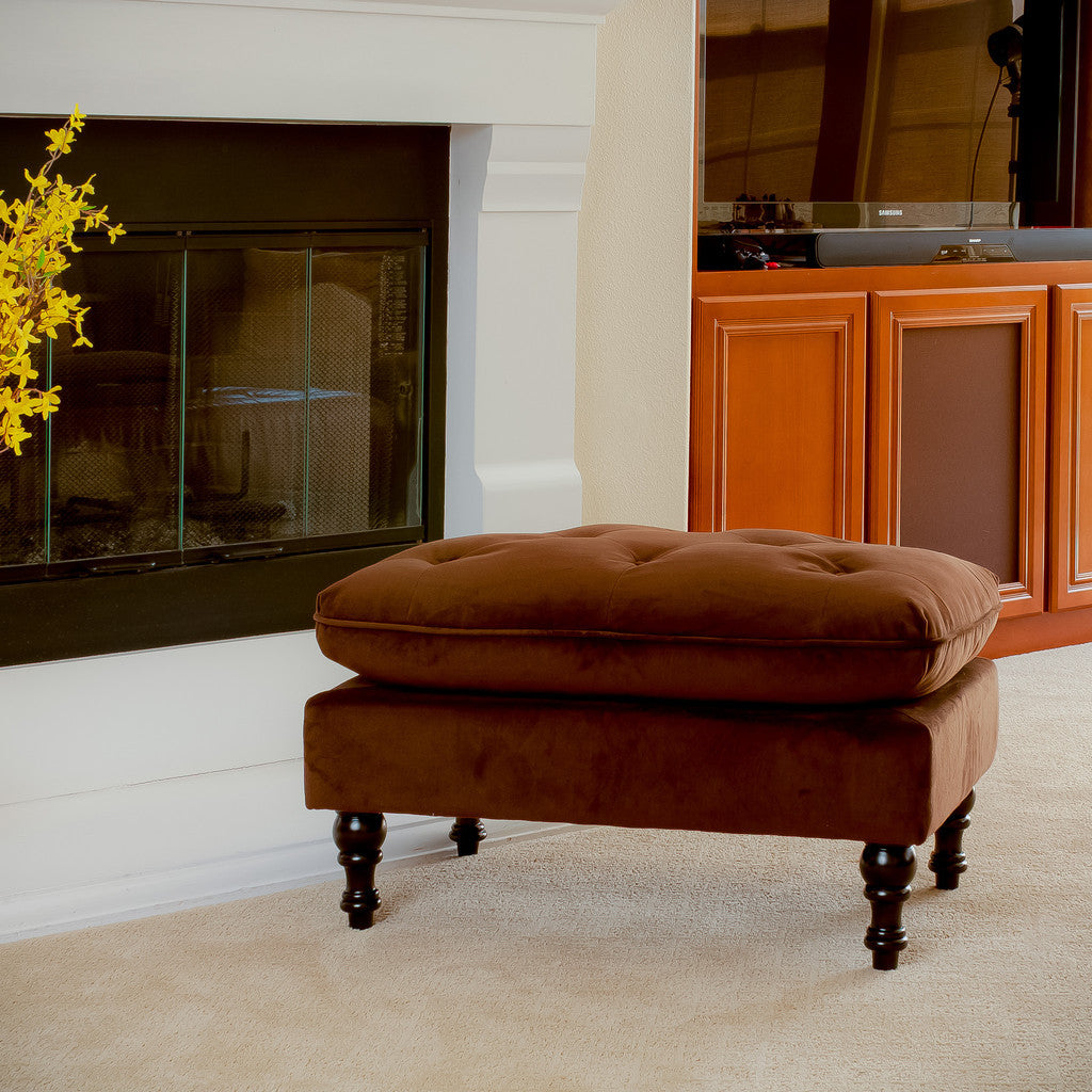 817056012792 Doyle Chocolate Brown Tufted Ottoman Full View in Room