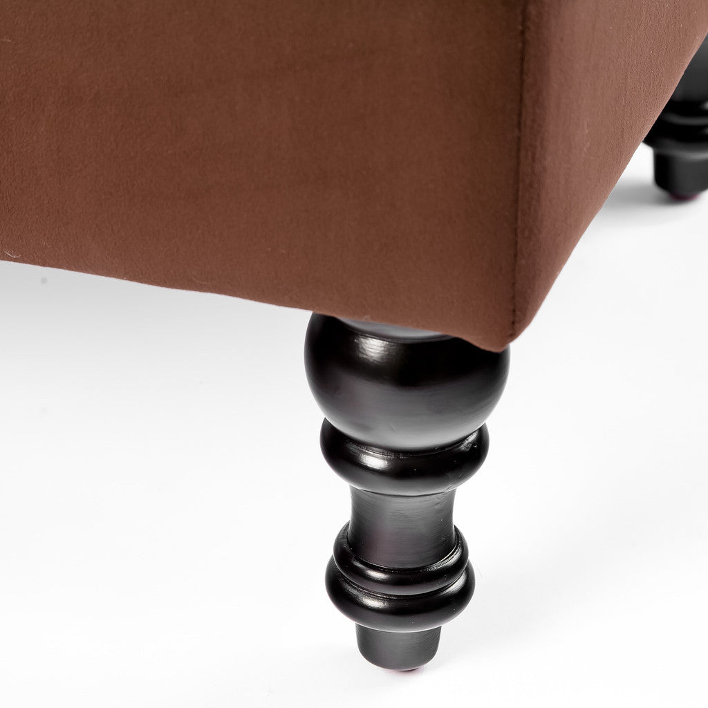 817056012792 Doyle Chocolate Brown Tufted Ottoman Leg Detail View