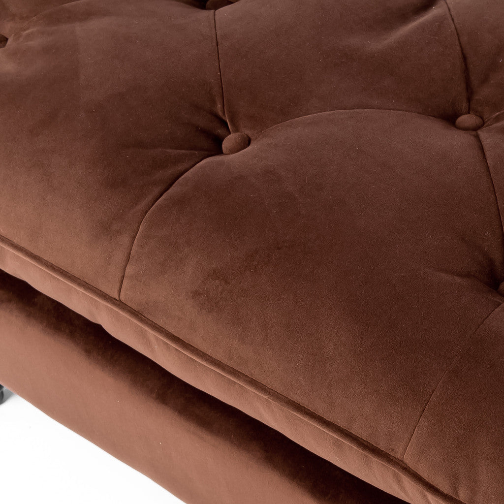 817056012792 Doyle Chocolate Brown Tufted Ottoman Tufting Fabric View