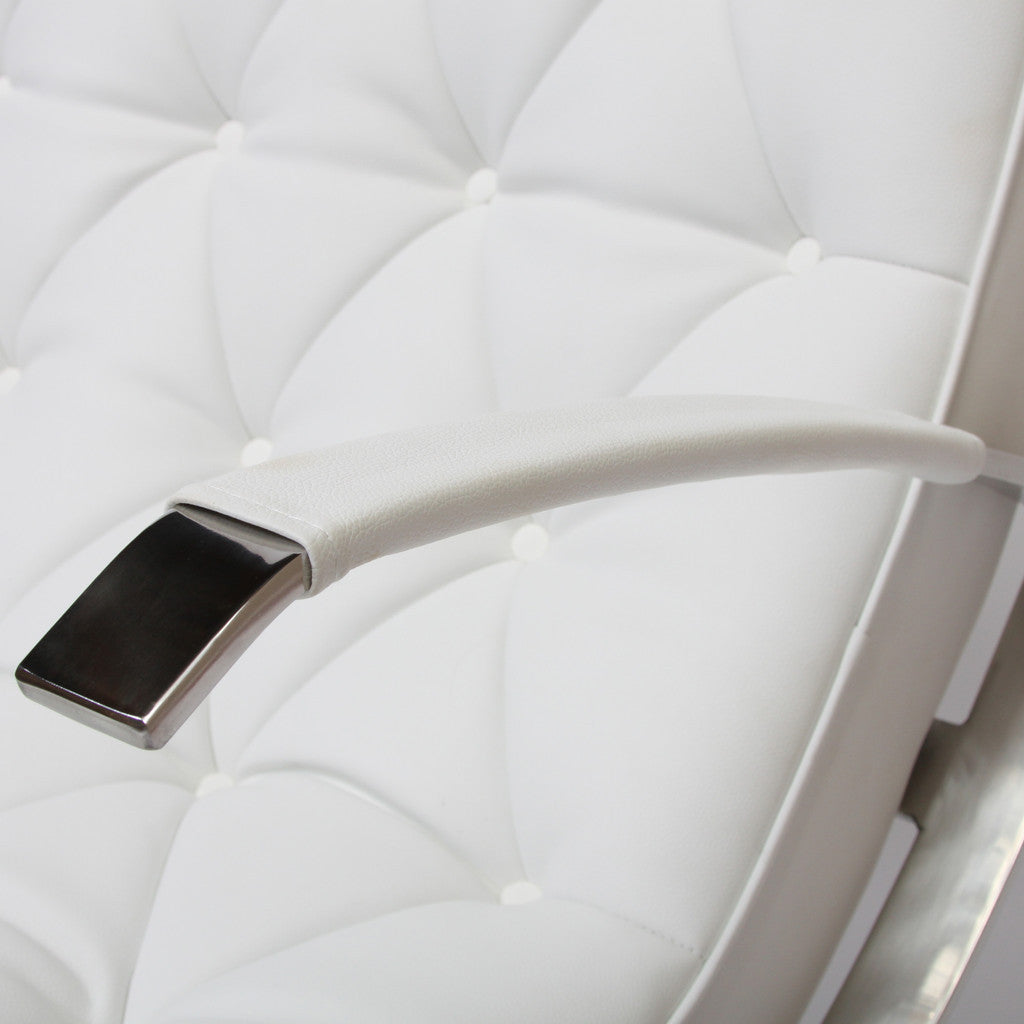 817056013621 Cupola Tufted White Leather Rocking Chair Armrest Detail View