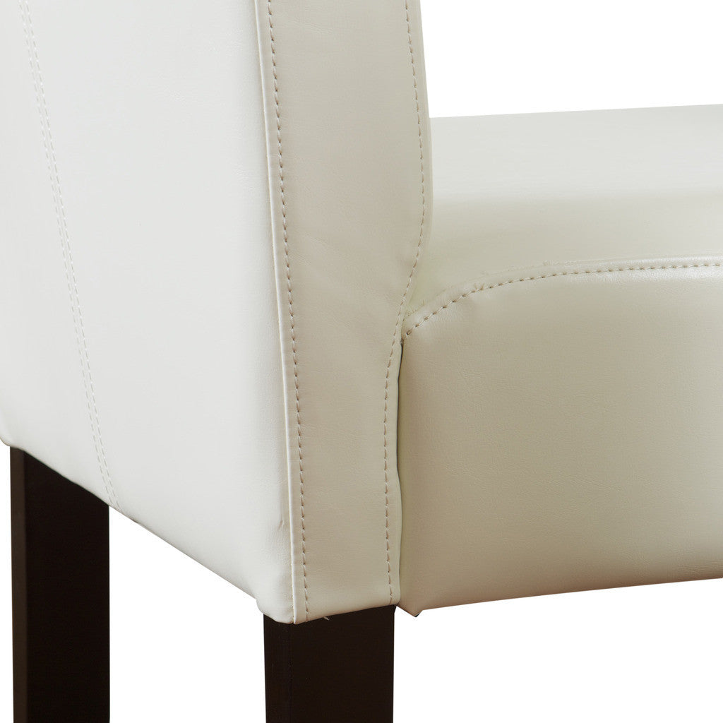 817056013782 - Lowry White Leather Barstool (Set of 2) - Chair Detail View
