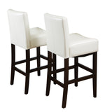 Lowry Ivory Leather Barstool (Set of 2)