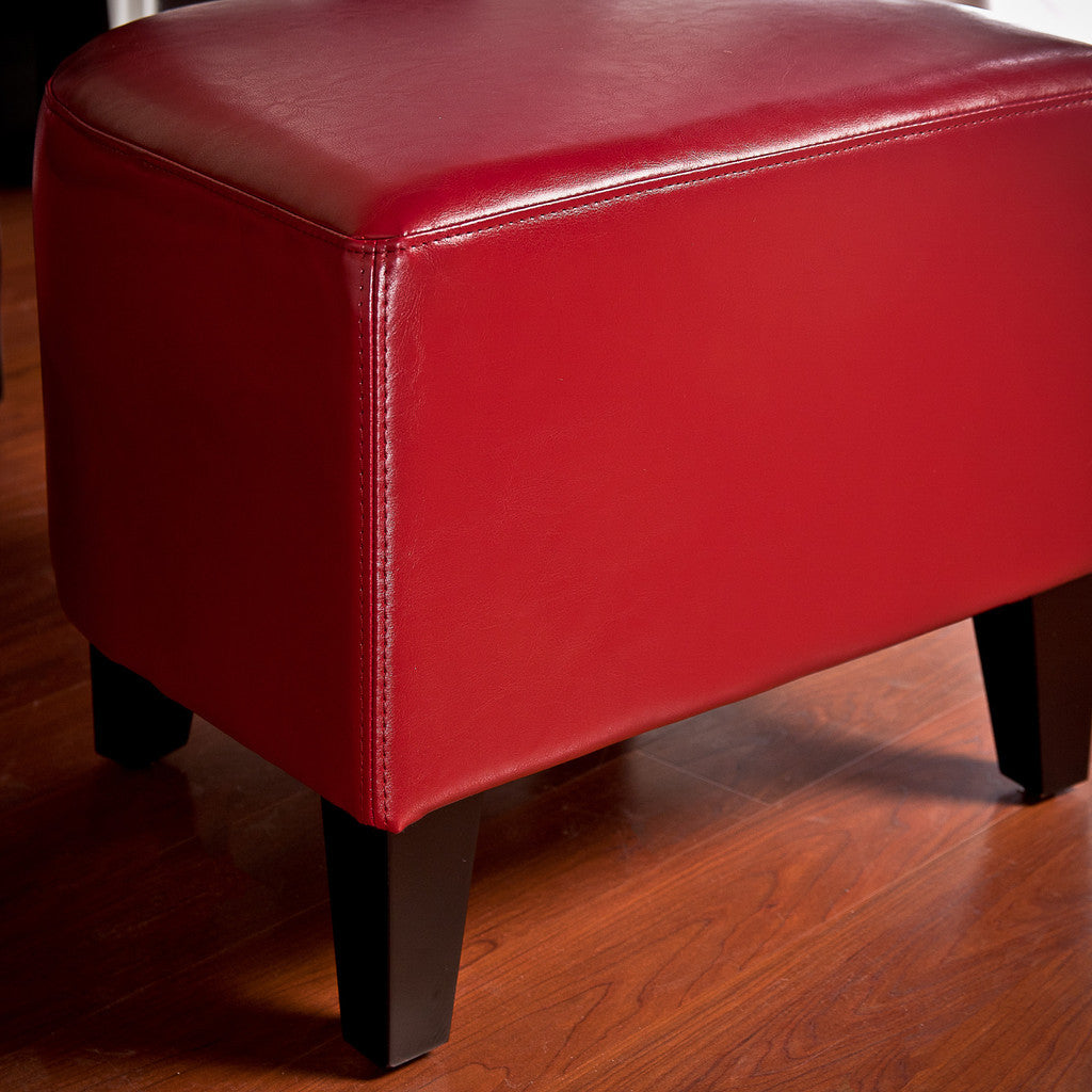 817056013911 Russell Red Leather Ottoman Back View in Room