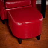 817056013911 Russell Red Leather Ottoman Full View in Room