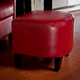 817056013911 Russell Red Leather Ottoman Side View in Room