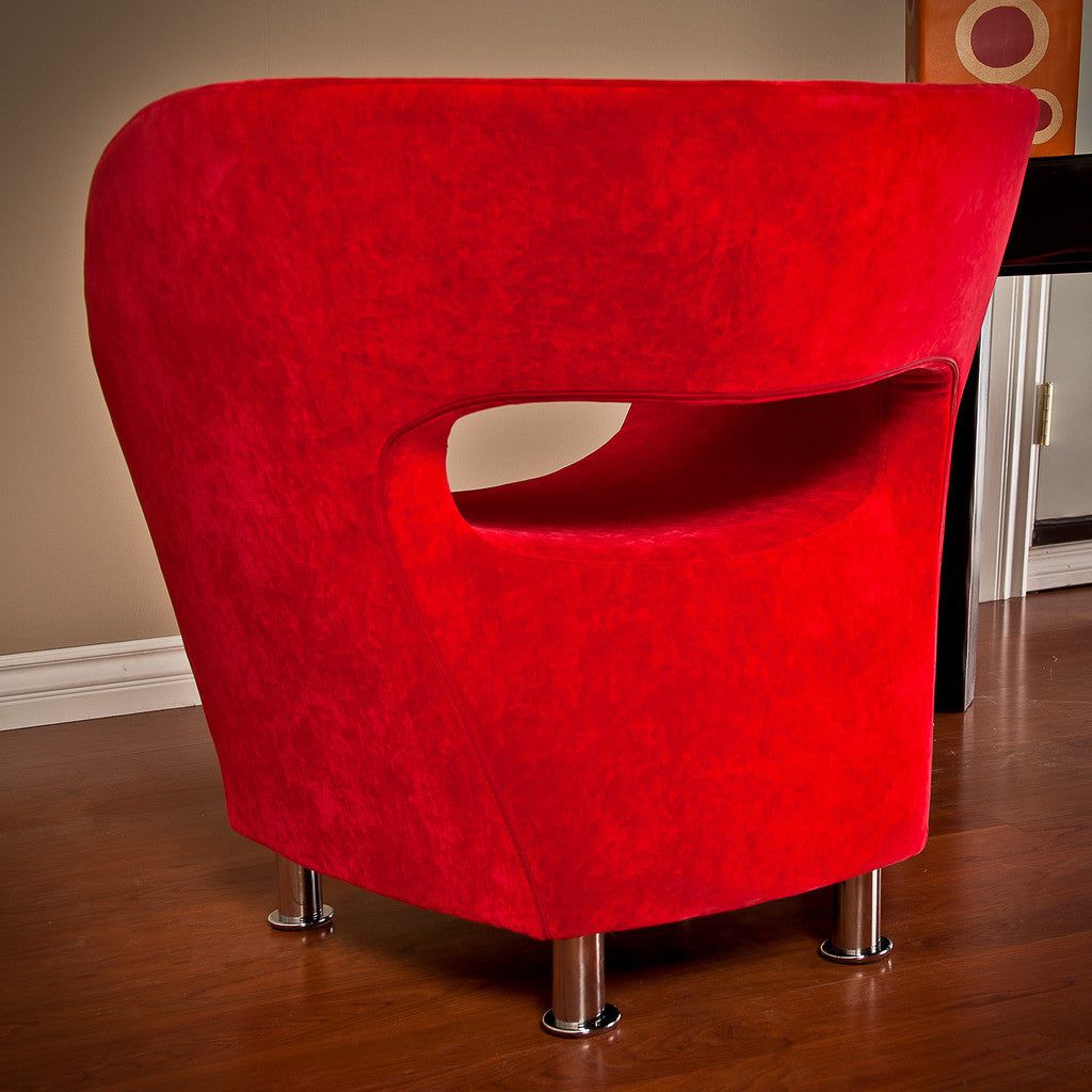 817056013959 Salazar Red Microfiber Chair Back View