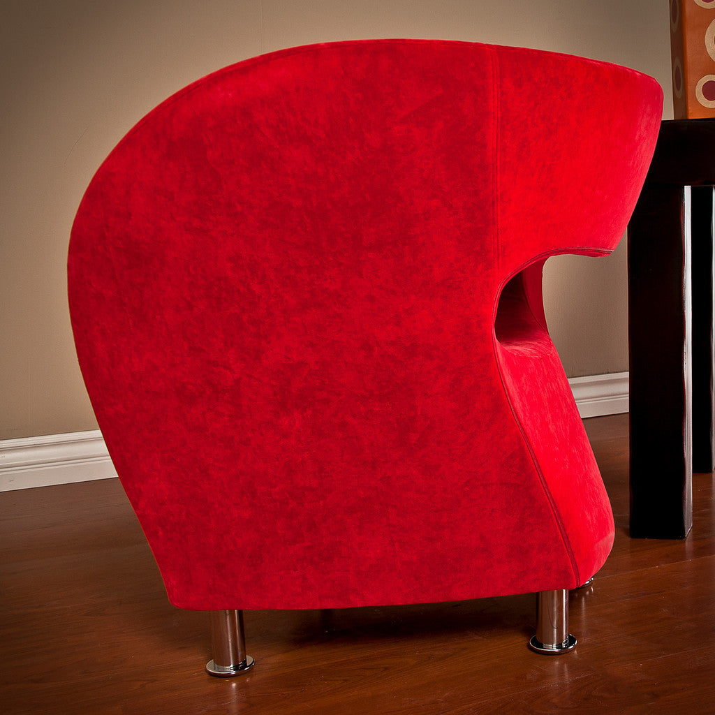 817056013959 Salazar Red Microfiber Chair Side View