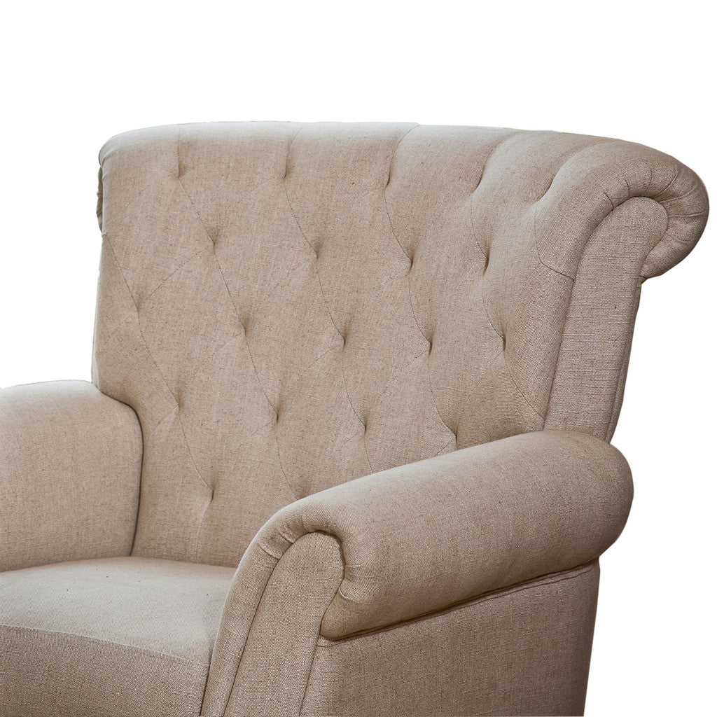 Solvang Tufted Beige Fabric Club Chair