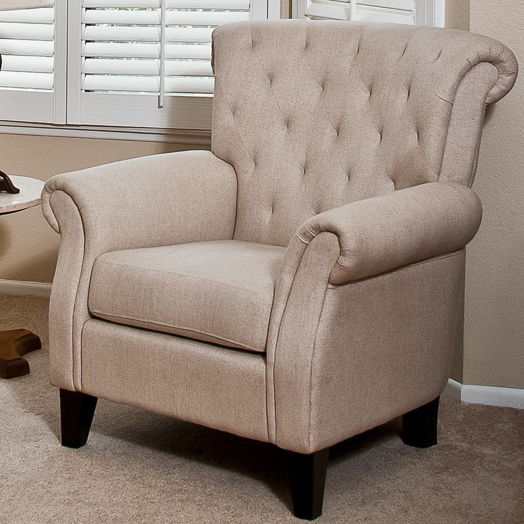 817056013966 - Solvang Tufted Beige Fabric Club Chair - Full View in Room