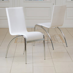 817056014840 - Enola White Modern Chair - 2 chairs full view in room