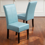 817056014918 Emilia Teal Blue Leather Dining Chair (Set of 2) Full View in Room