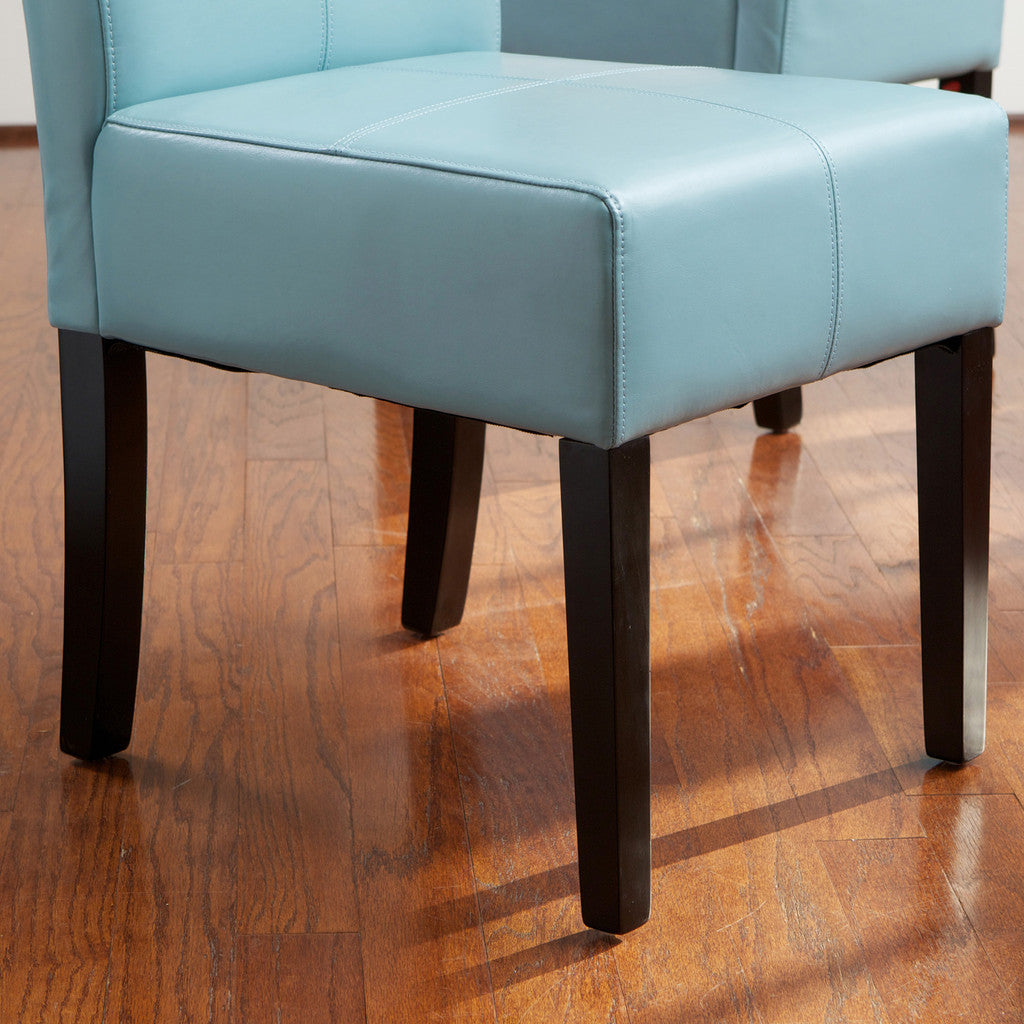 817056014918 Emilia Teal Blue Leather Dining Chair (Set of 2) Leg Detail View