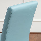 Emilia Teal Blue Leather Dining Chairs (set of 2)