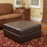 817056015038 Templeton Brown Leather Storage Ottoman