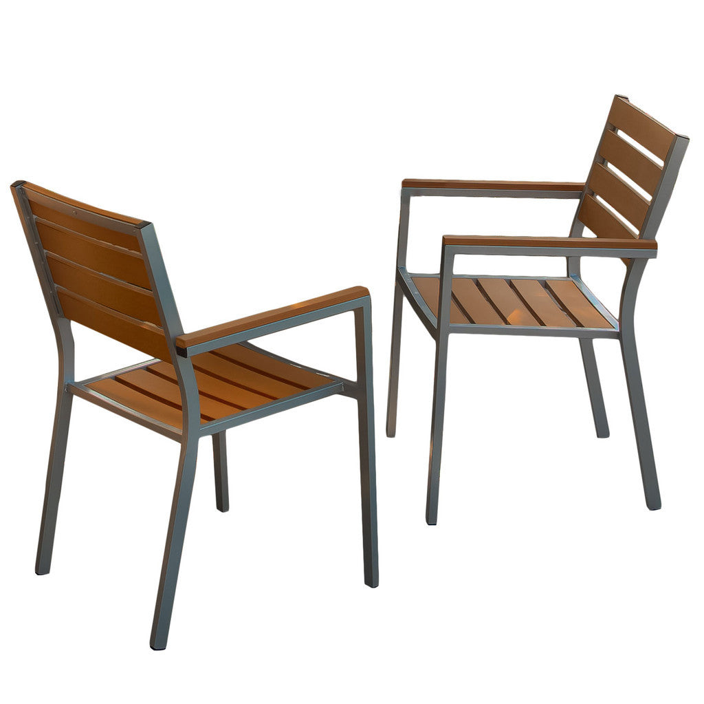 Carmel Natural Poly Wood Outdoor Chairs (Set of 2)