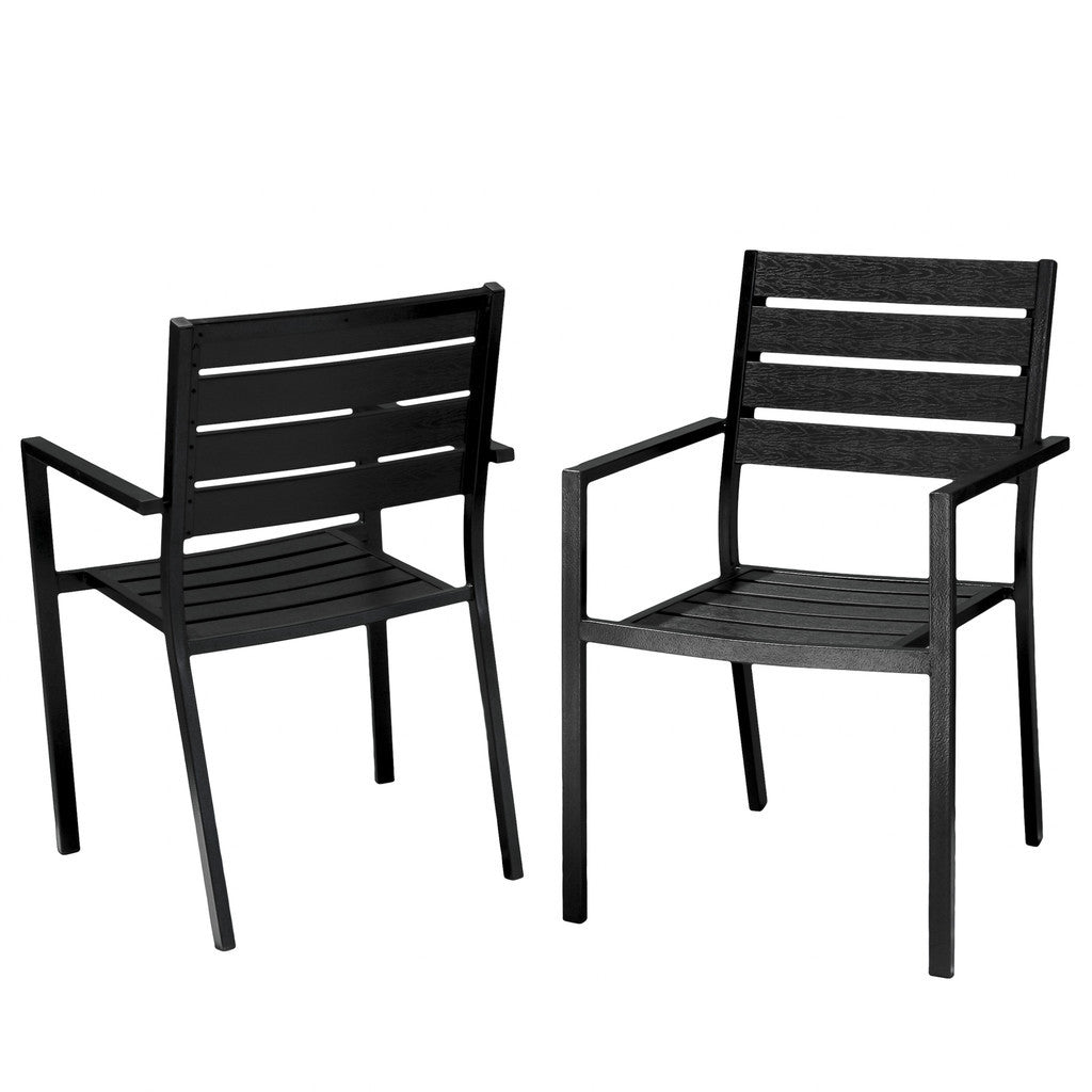 817056015168 Carmel Black Poly Wood Outdoor Chairs 2pk White Background