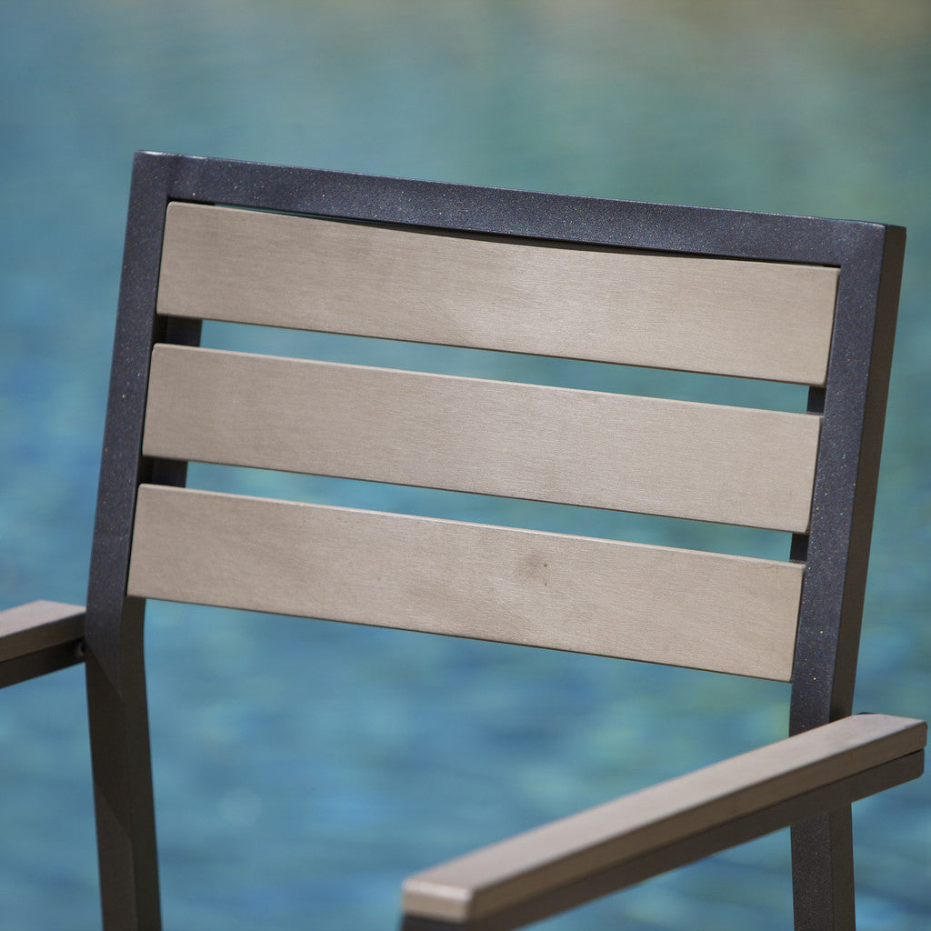 817056015175 Carmel Grey Poly Wood Outdoor Chairs (Set of 2) Chair Detail View