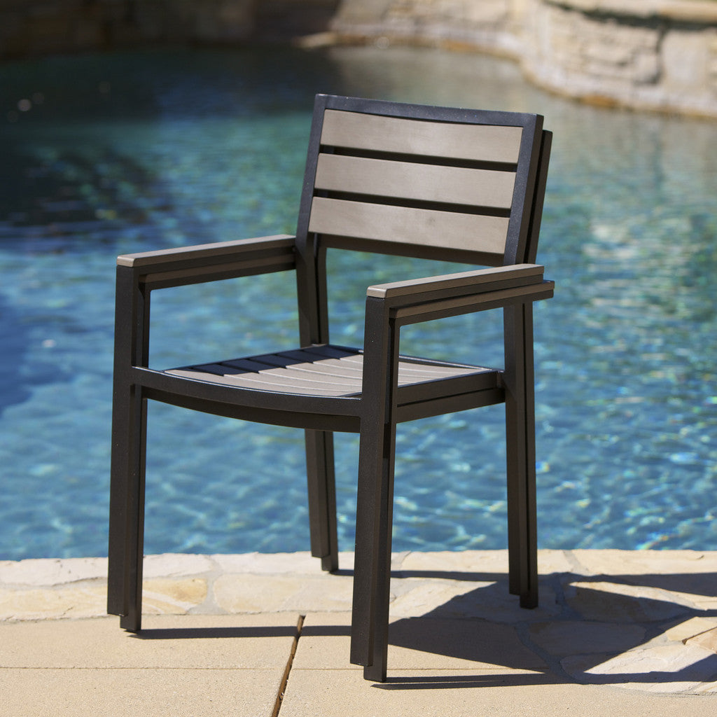 817056015175 Carmel Grey Poly Wood Outdoor Chairs (Set of 2) Stacked View
