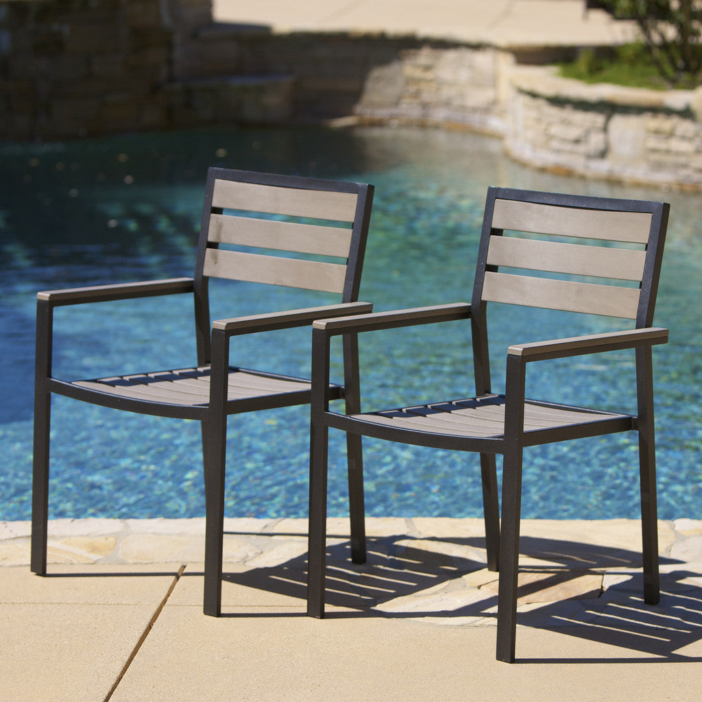 Carmel Grey Poly Wood Outdoor Chairs (Set of 2)