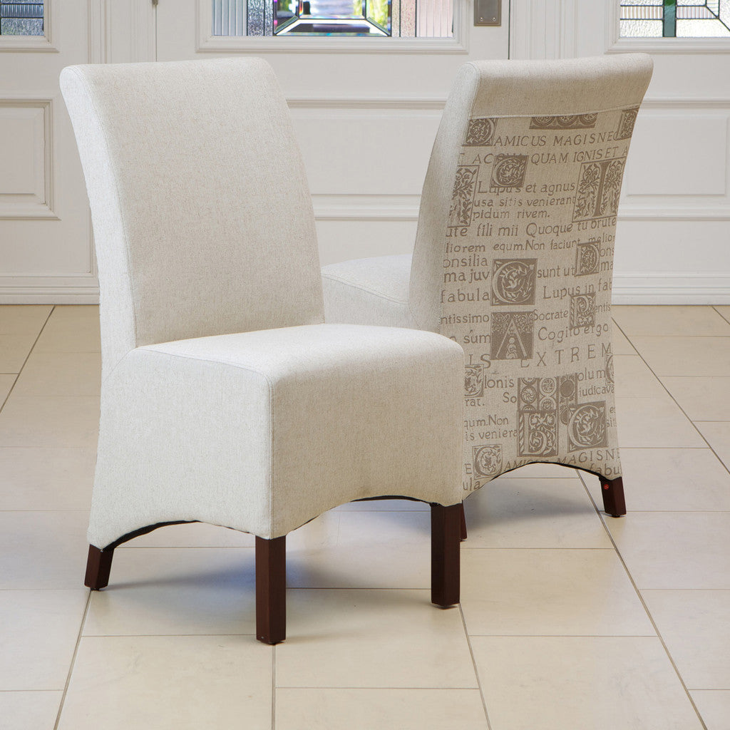 817056015700 Avery Beige Printed Fabric Dining Chair (Set of 2) Full Set View in Room