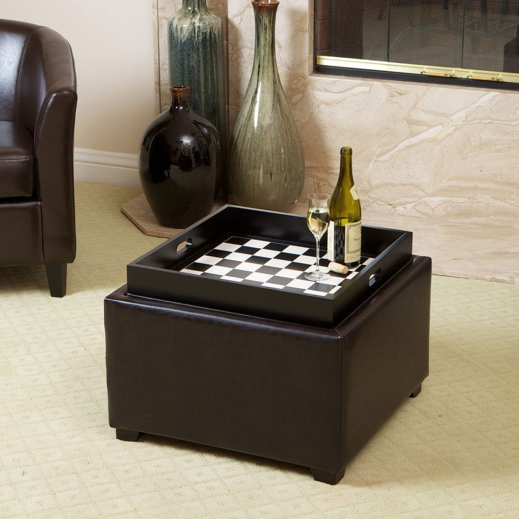 817056016035 Everett Chessboard Brown Leather Storage Ottoman Chess Board View in Room