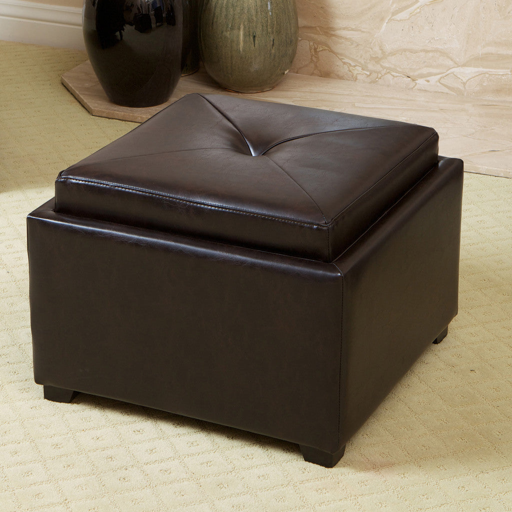 817056016035 Everett Chessboard Brown Leather Storage Ottoman Full View in Room