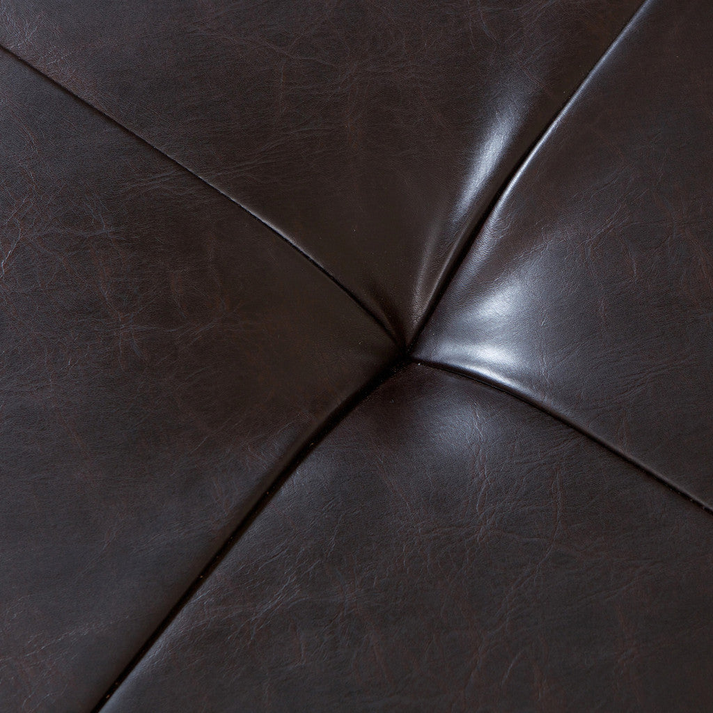 817056016035 Everett Chessboard Brown Leather Storage Ottoman Leather and Tufting Detail View