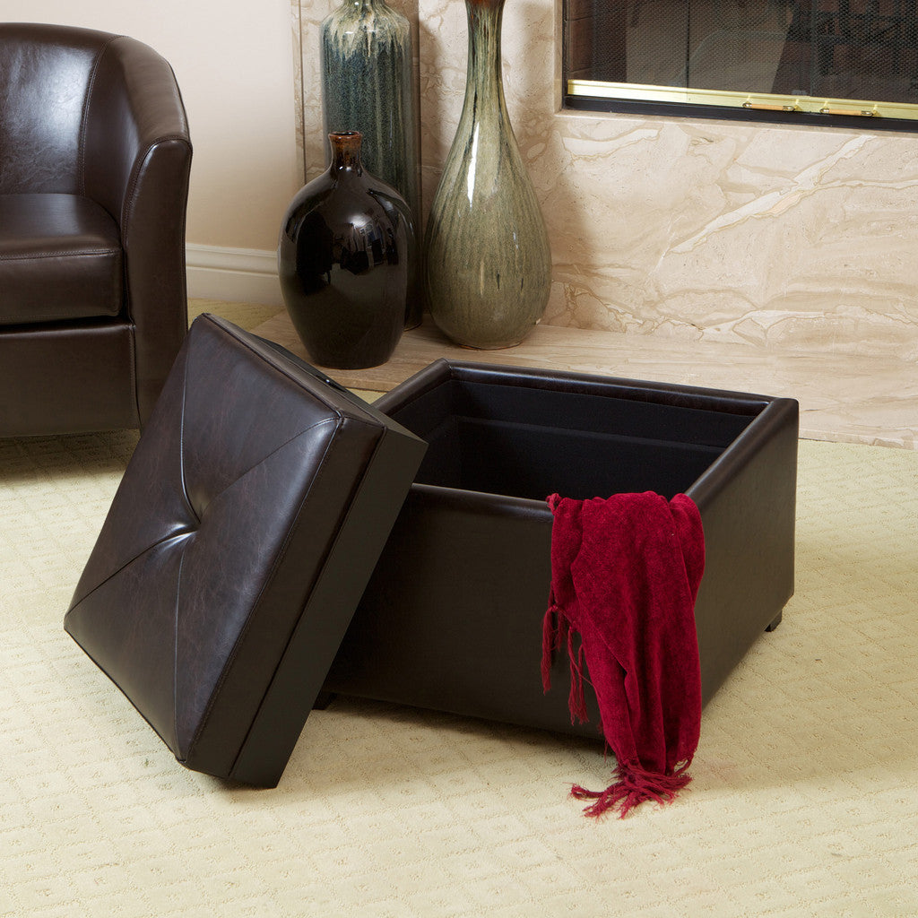 817056016035 Everett Chessboard Brown Leather Storage Ottoman Storage View in Room