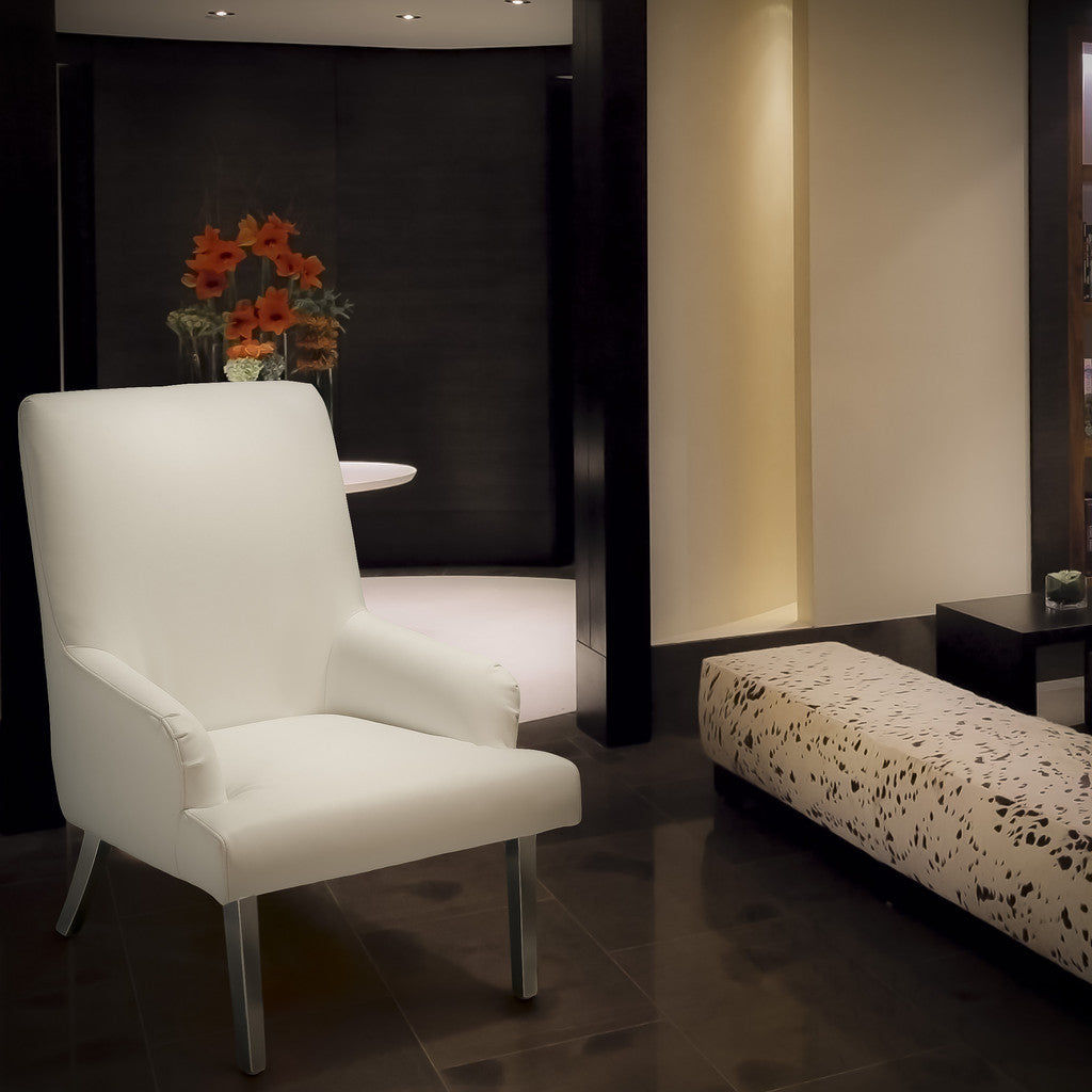 817056016073 Orlando White Leather Chair Full View in Room