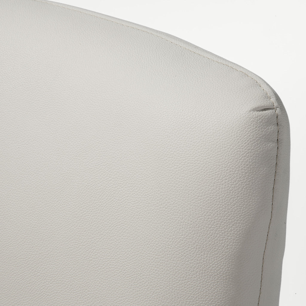 817056016073 Orlando White Leather Chair Leather Detail View