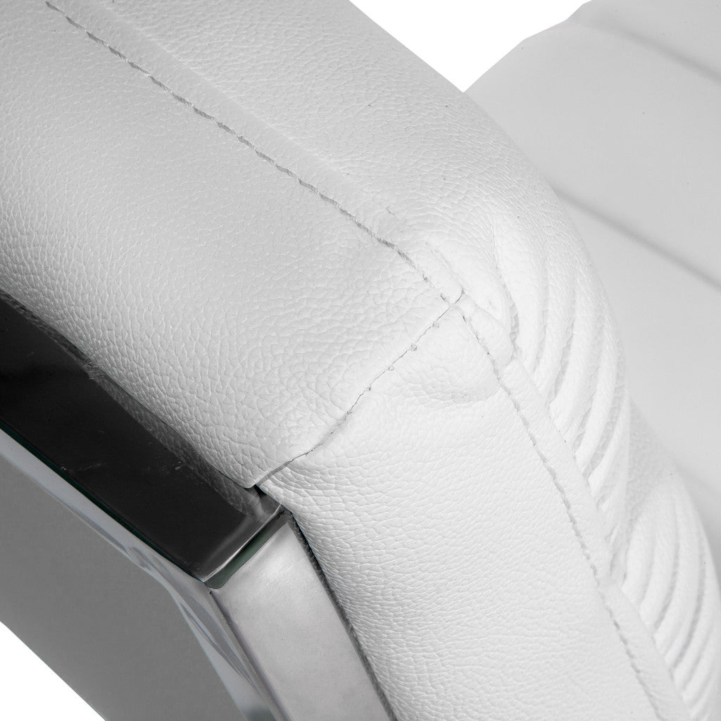 817056016097 Kingsbury White Leather Chair Back View