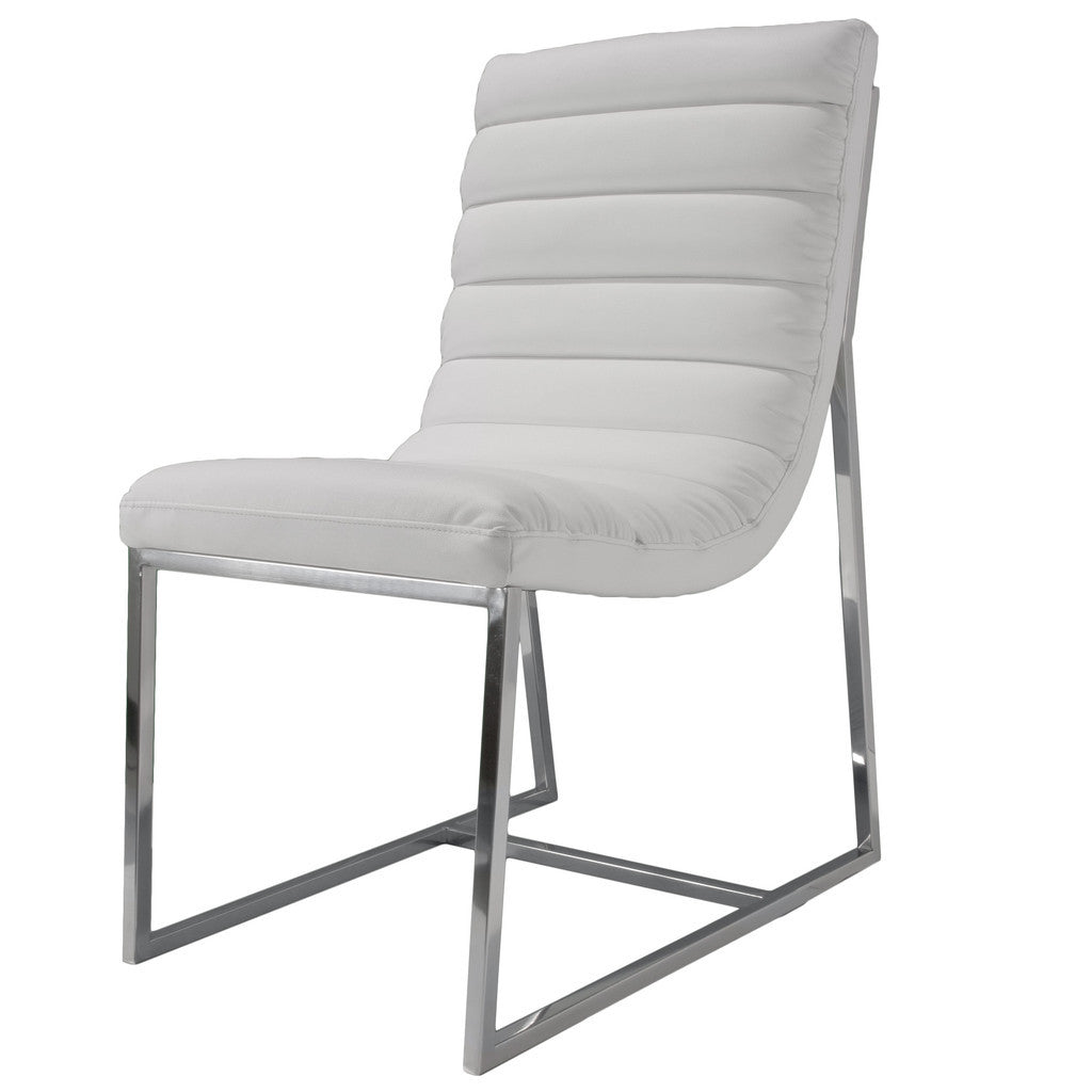 817056016097 Kingsbury White Leather Chair White Background