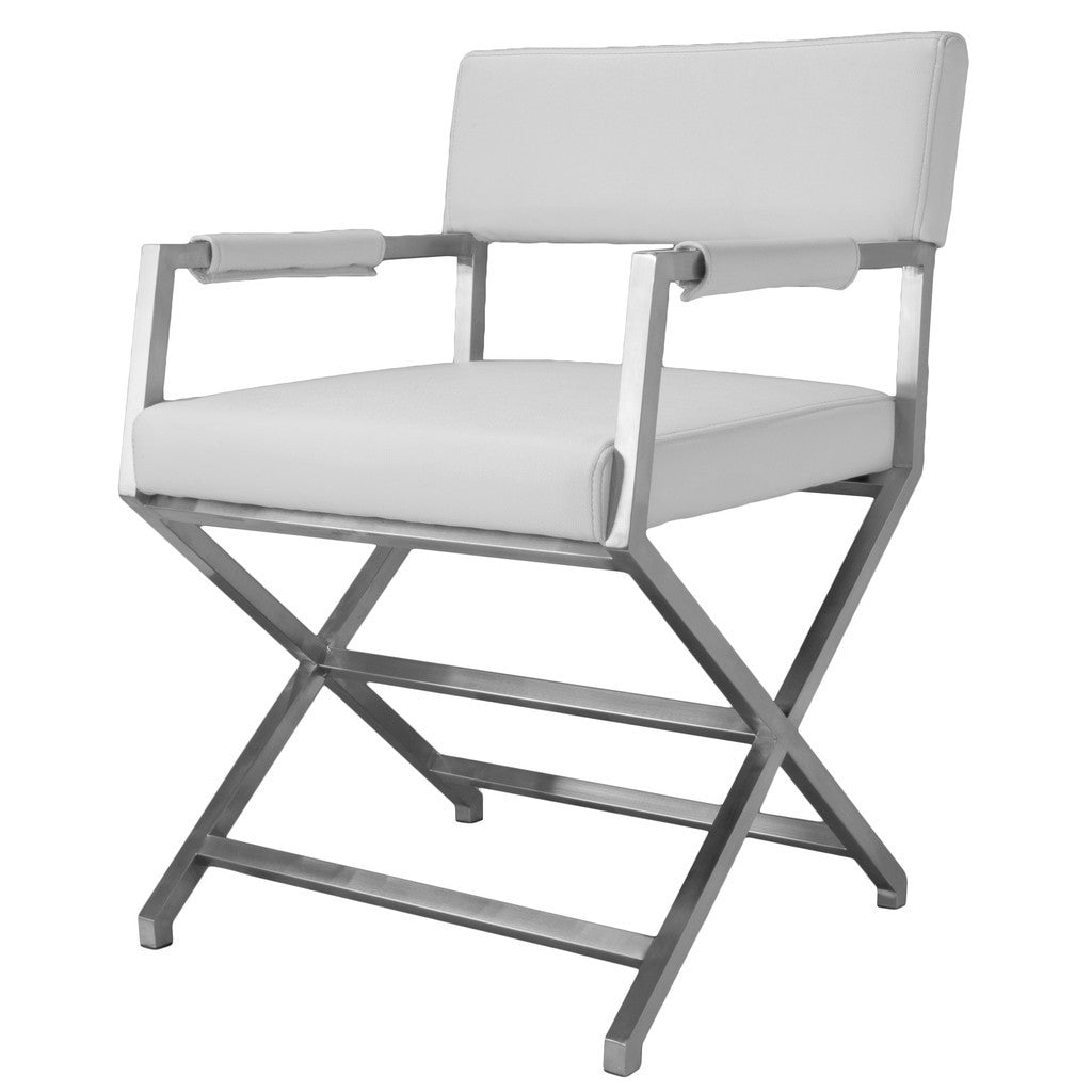 817056016110 Rocklin White Leather Dining Chair Full View White Background