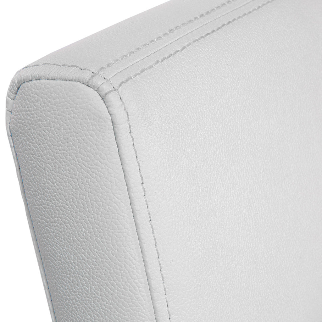 817056016110 Rocklin White Leather Dining Chair Leather Detail View
