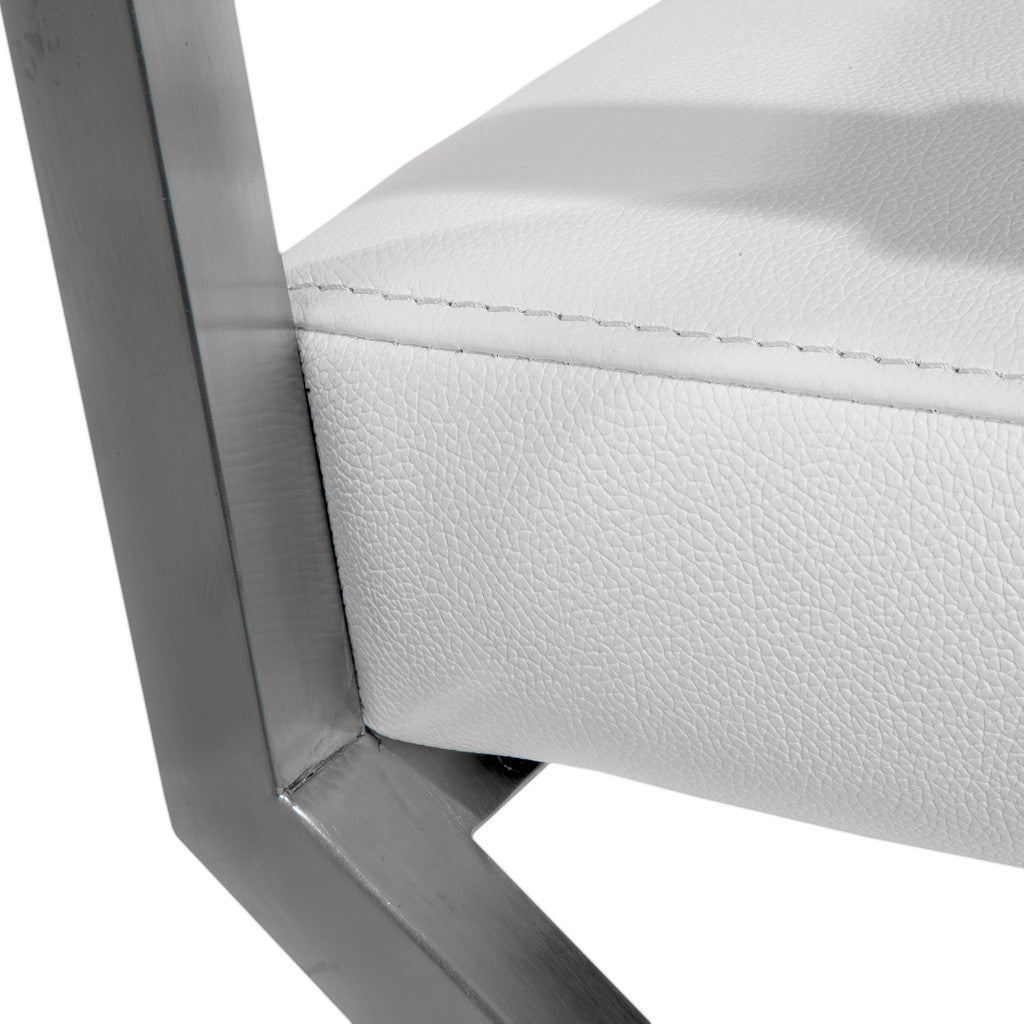 817056016110 Rocklin White Leather Dining Chair Steel Detail View