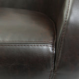 817056016318 Lewis Brown Leather Roundback Leather Detail View